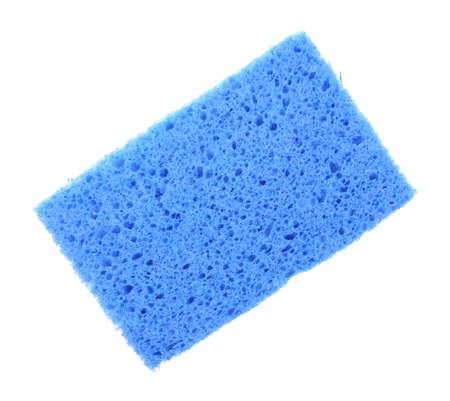 cellulose: Una celulosa superabsorbente esponja azul sobre fondo blanco Foto de archivo