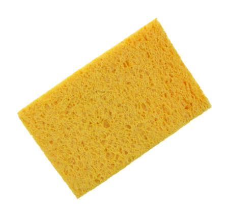 cellulose: Una celulosa absorbente profunda esponja s�per amarillo sobre fondo blanco