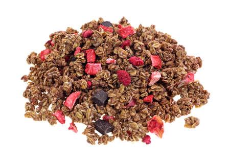 freeze dried: Cereales de granola con trozos de frutas y chocolate