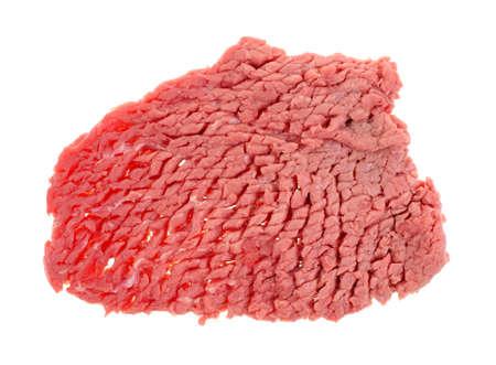 chuck: A fresh whole raw beef chuck steak on white.
