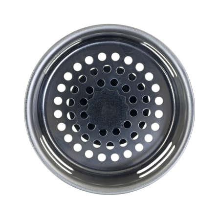 standard steel: Looking down at a new stainless steel sink drain plug.