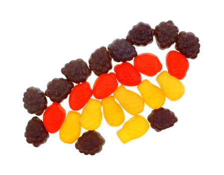 chewy: A group of colorful gummy chewy long lasting snacks. Stock Photo