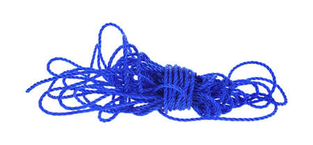 unwound: A fifty foot hank of royal blue poly rope unwound.