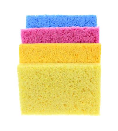 cellulose: Cuatro colores esponjas s�per absorbentes de celulosa apiladas.