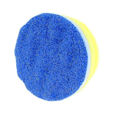 scrubbing: The scrubbing pad attached to a soft yellow sponge
