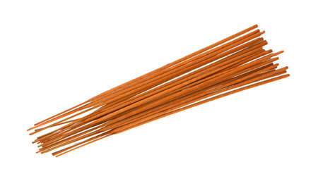 incense sticks: A top view of a group of  long aromatic incense sticks with a rough and gritty flammable texture Stock Photo