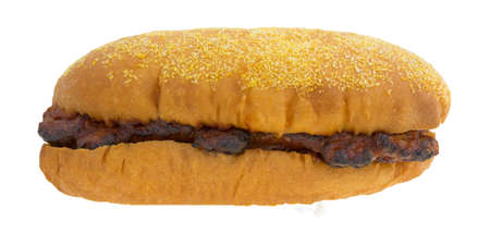 pork rib: A side view of a pork rib sandwich isolated on a white background.
