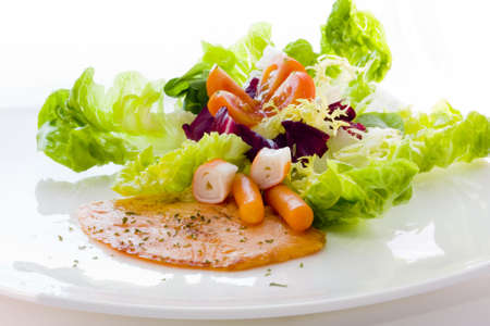 salmon and vegetables, healthy modern kitchen