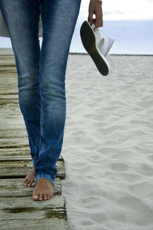 wandelen op het strand Stockfoto