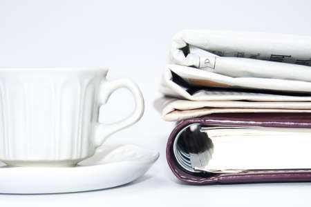 stress testing: cup of coffee and office supplies Stock Photo