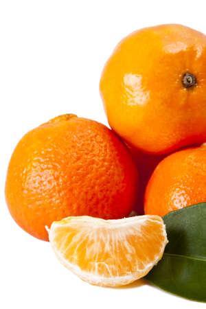 hojas: naranja sobre fondo blanco Stock Photo