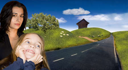 happy family and landscape Stock Photo - 11572978