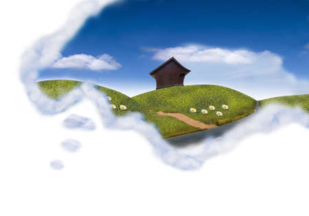 happy dream cloud field with the cottage