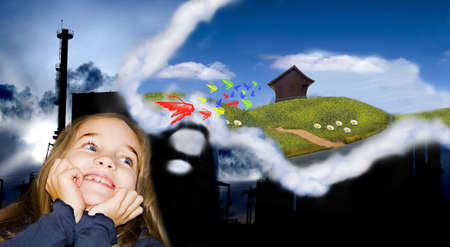 gelukkig meisje droomt de wereld