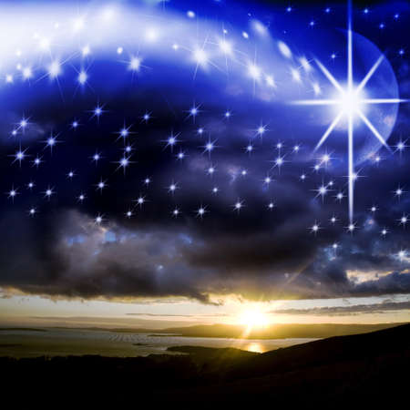star background of Christmas photo