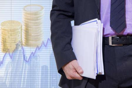Zakenman in de huidige economische Stockfoto - 11866620