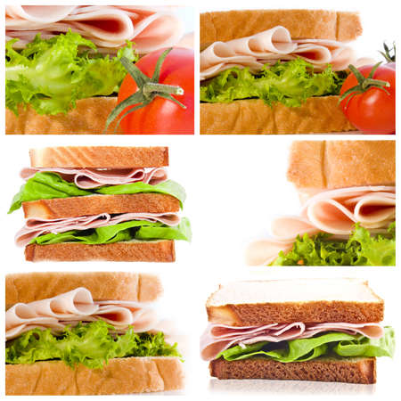 Collage collection set of sandwiches Stock Photo