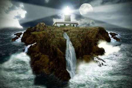 Navigatie-baken op de rotsachtige eiland met storm oplichten in de nacht Stockfoto - 14777227