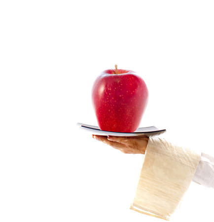 waiter with dish and apple, concept of healthy, balanced diet photo