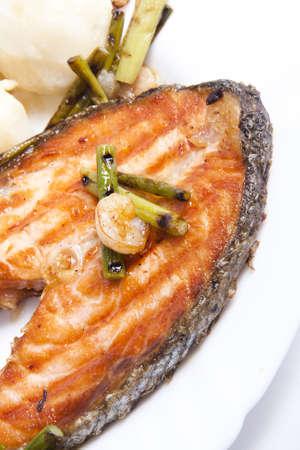 slice of fresh fish, Norwegian salmon red photo