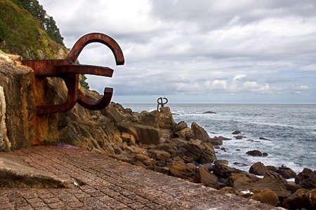 san sebastian: Comb of the Winds, monument in San Sebastian, Spain