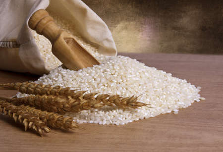 rice harvest: natural brown rice Stock Photo