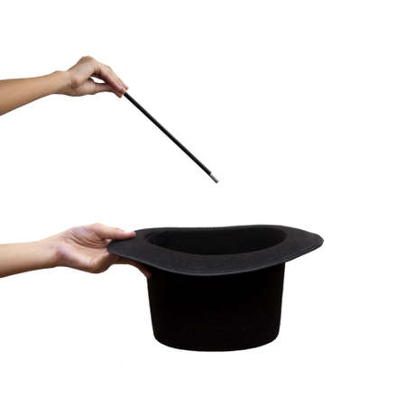 hand holding magic wand and hat Banque d'images
