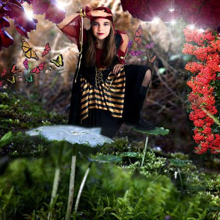 Jong meisje in het bos Stockfoto - 17053657