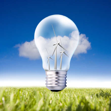 wind energy: bulb turbines and background of grass and blue sky with cloud