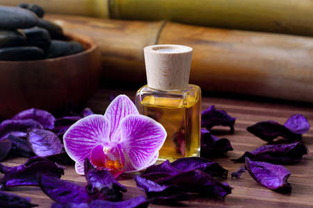 bottle of olive oil naturally aromatic spa photo