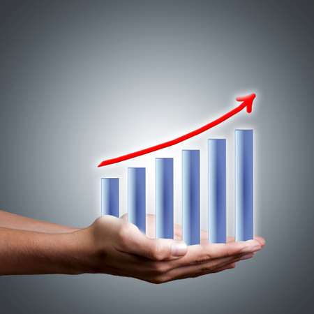 bars hands with financial results and earnings success Stock Photo - 18394453