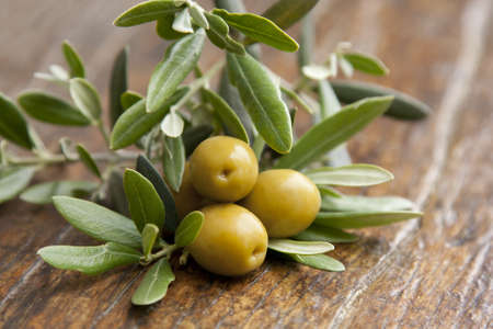 olives and olive leaves photo
