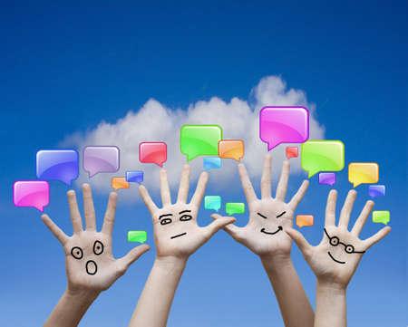 handen en communicatie iconen Stockfoto