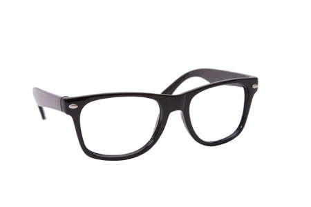 closely: black rimmed glasses isolated on white