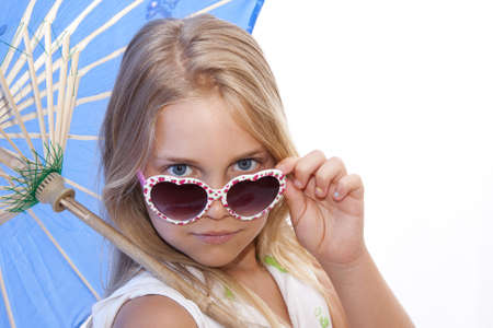 girl with umbrella and sunglasses smiling Stock Photo - 20894578