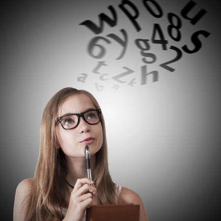 young girl with lyrics imagining Stock Photo