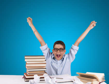 rejoices: young adult rejoices after studying