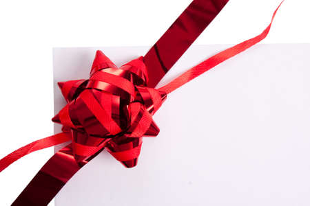 on ribbon with blank gift
