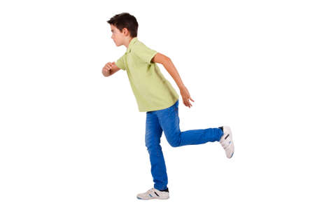 cute attitude: boy running isolated on white