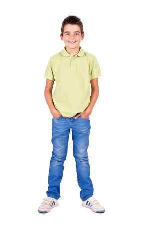 fair skinned: boy standing isolated on white