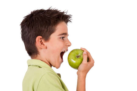 fair skinned: boy eating apple