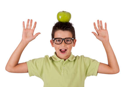 fair skinned: woman with apple on his head