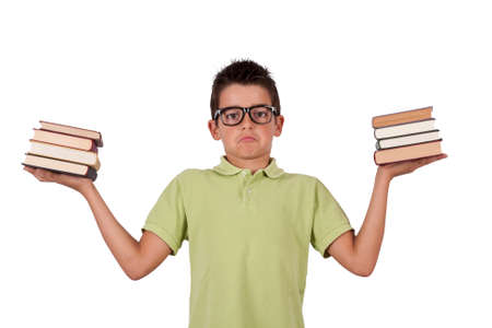 fair skinned: boy with books in their hands Stock Photo