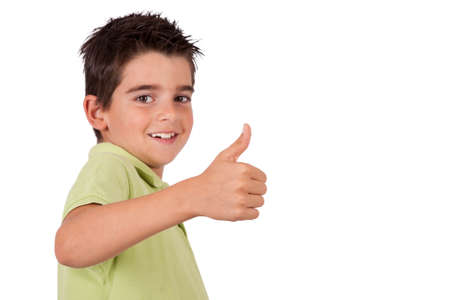 fair skinned: smiling boy with the approval Stock Photo