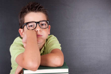 but think: boy leaning on boring attitude