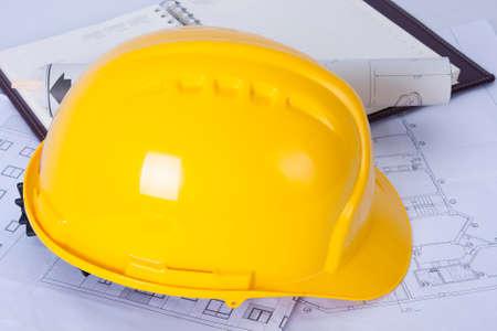 construction draftsman: construction helmet Architect Stock Photo