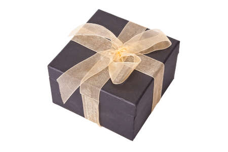cardboard gift box with ribbon photo
