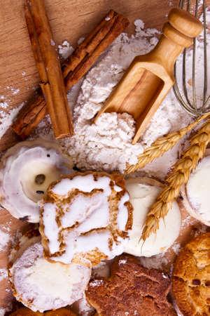 grasas saturadas: fondo de galletas artesanales tradicionales Foto de archivo