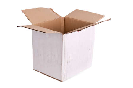 removals: empty cardboard box isolated on white background