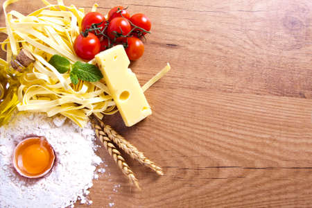 fresh pasta with natural foods balanced diet photo